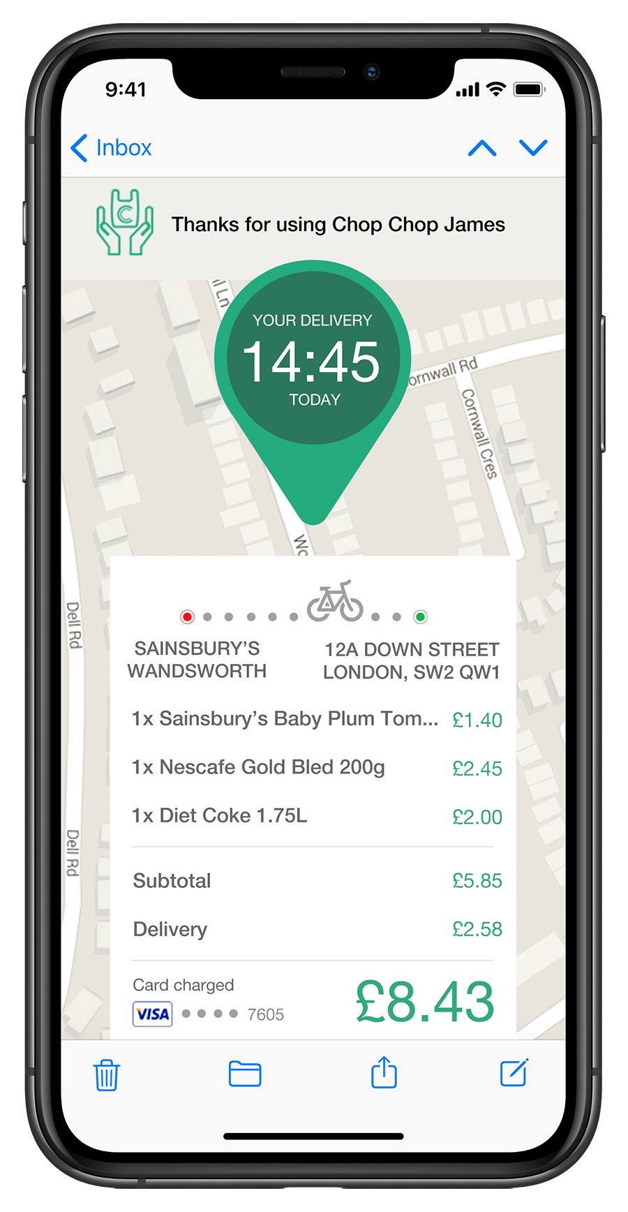 Data driven email showing real time of grocery arrival