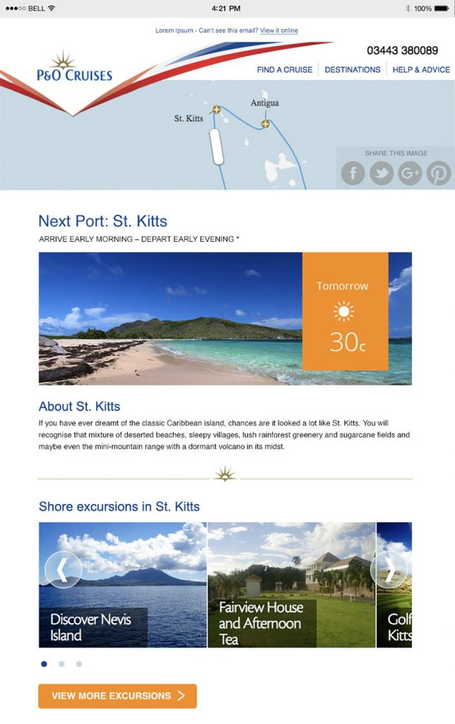 Image of a personalised travel email