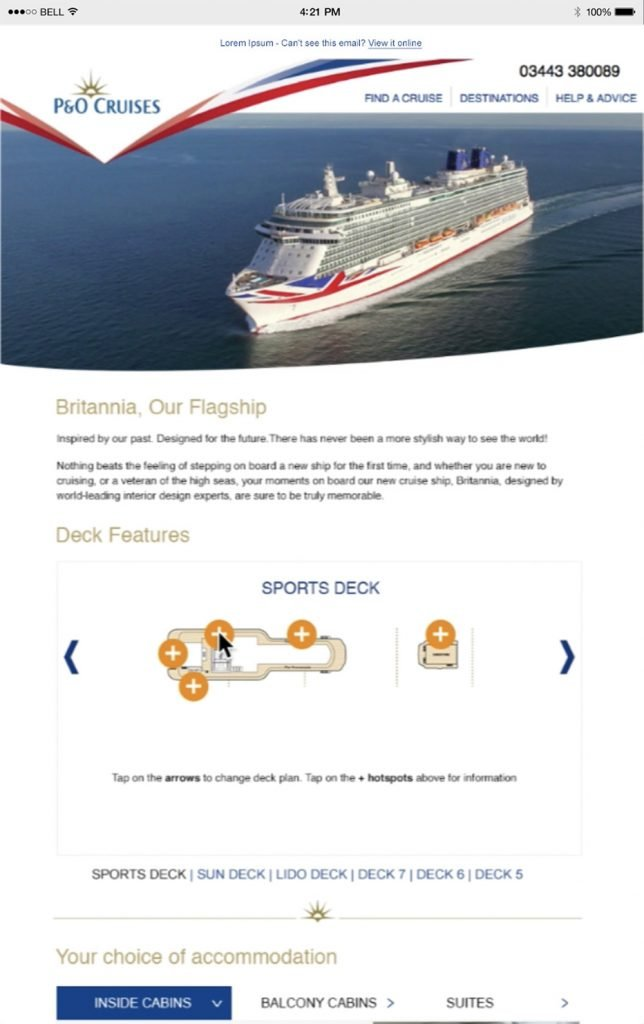 email illustrating personalised content for P&O