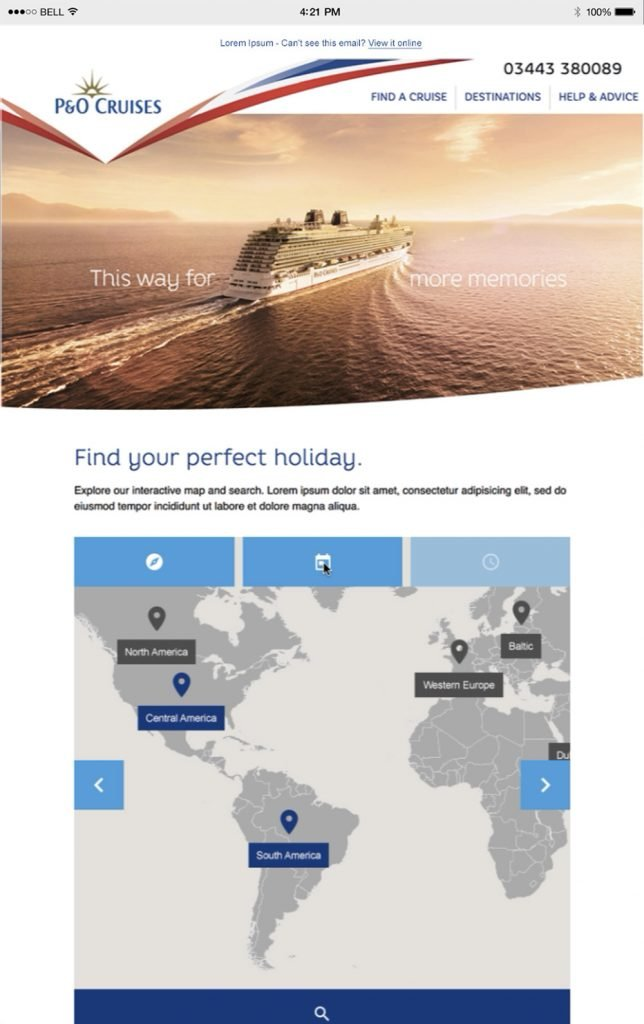 email illustrating personalised content for P&O travel