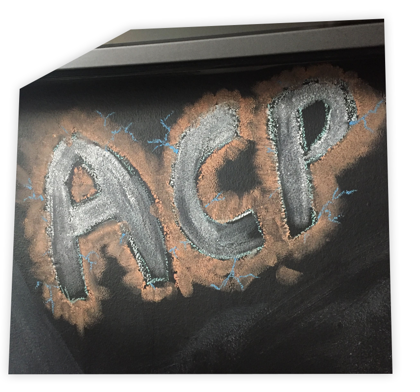 Chalk board with ACP Altaire's Marketing real-time personalisation platform