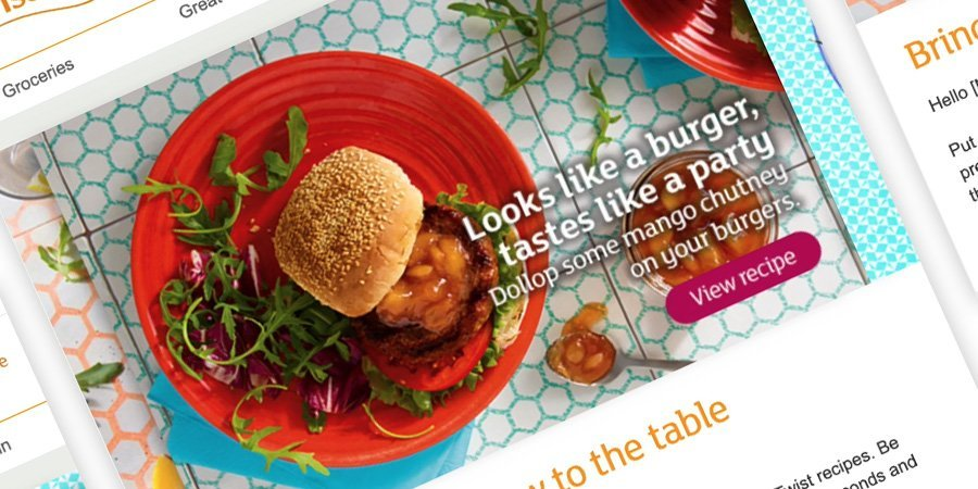 Kinetic email with hamburger on a plate inviting customers to interact to get the recipe
