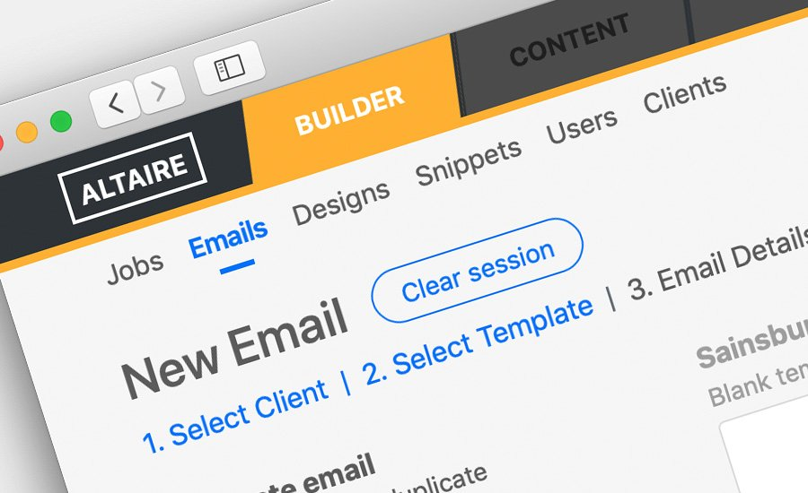 Altaire email builder screen grab